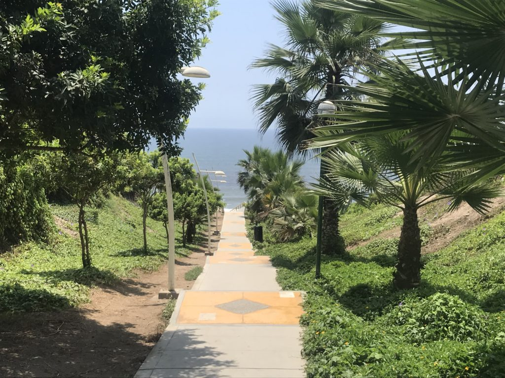 Path in Miraflores leading to the ocean.