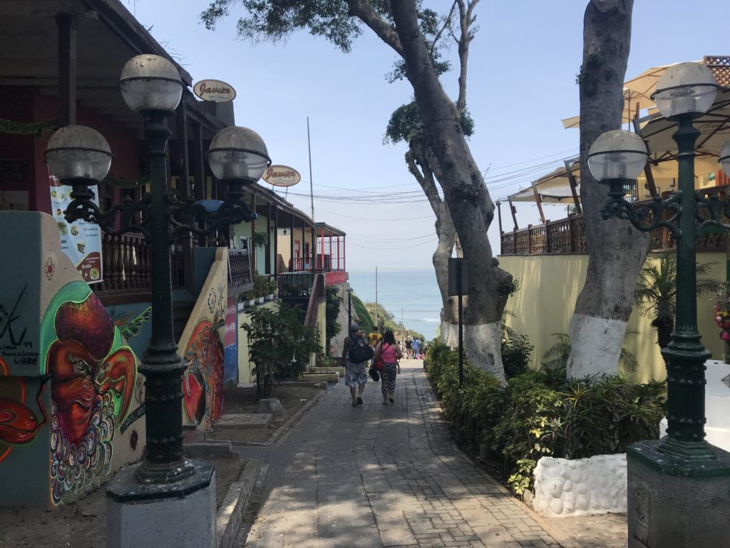Street in Barranco leading to the ocean.