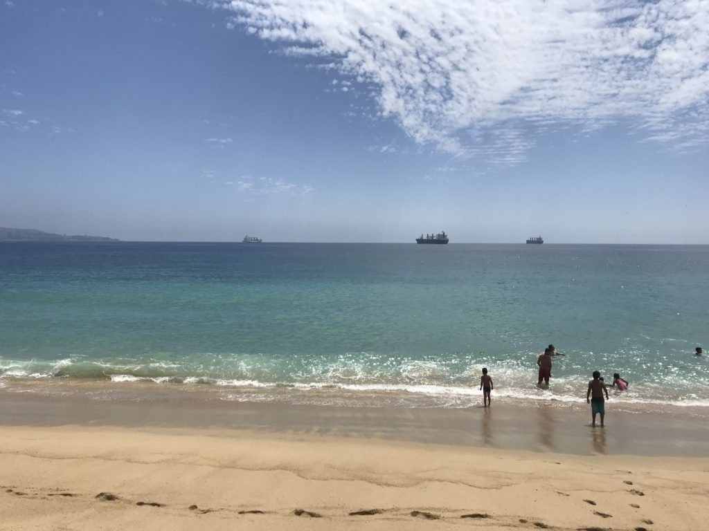 The water is cold for swimming at Viña del Mar.