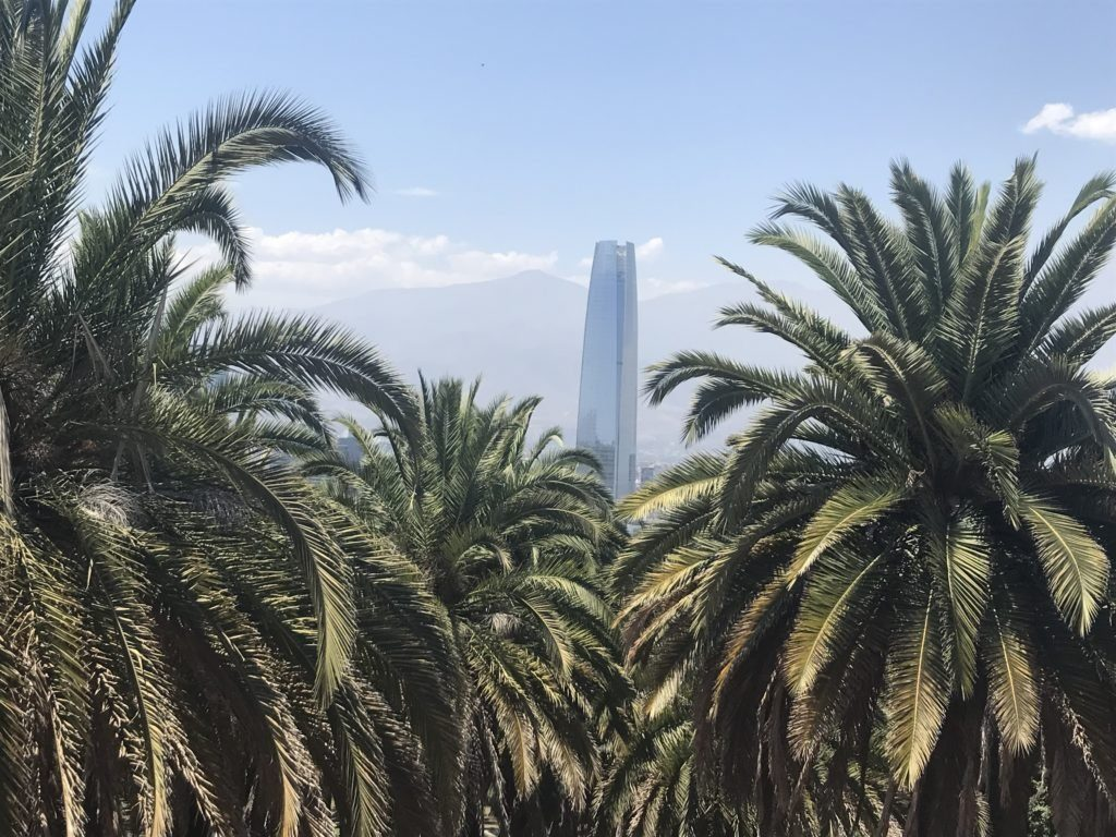 View of the Costanera Center from Centenario Plaza.