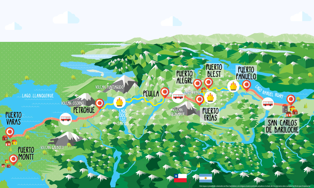 Map of the Cruce Andino lake crossing.  Photo credit: Cruce Andino.