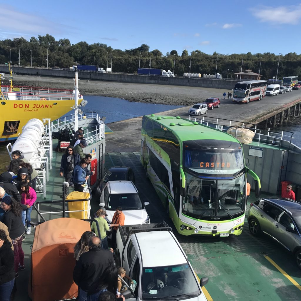 How to visit Chiloé Island by taking the bus by ferry.