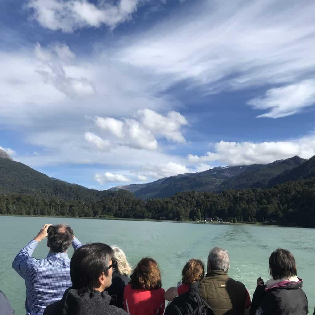 Boat ride on lake Frías during Cruce Andino lake crossing.