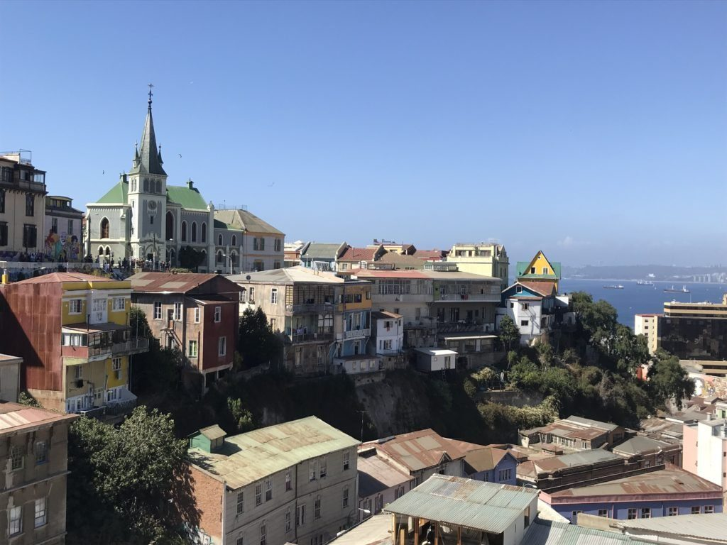 View of Valparaíso at the top of the Reina Victoria funicular.