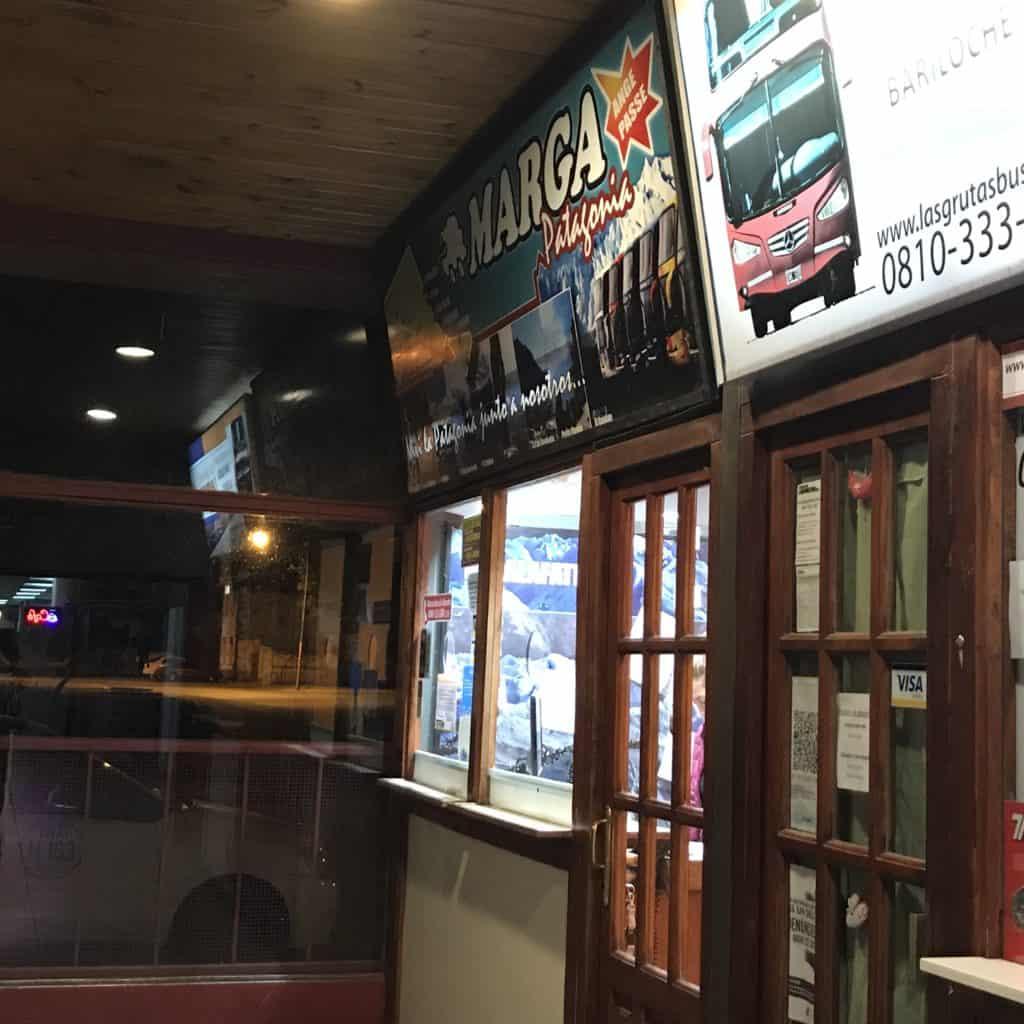 Marga Taqsa ticket counter in Bariloche.