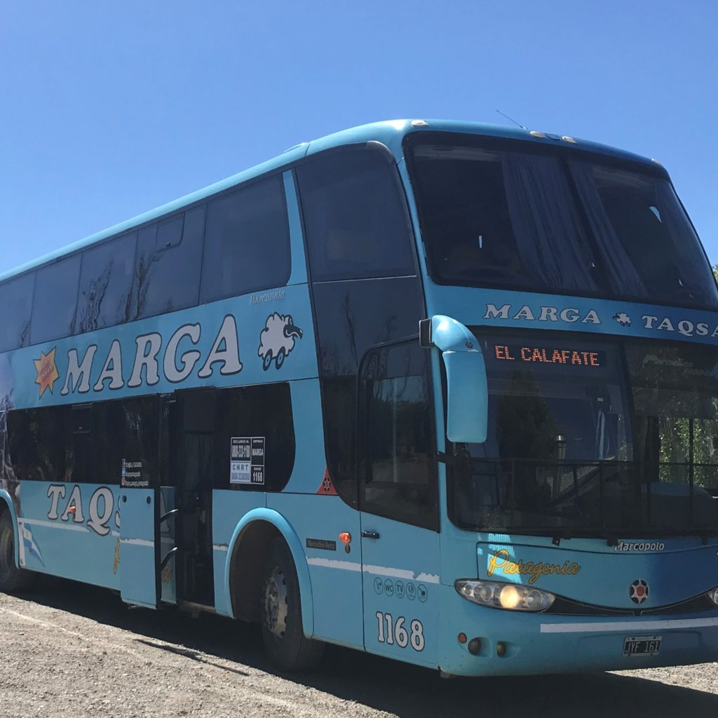 Bus from Bariloche to El Calafate.