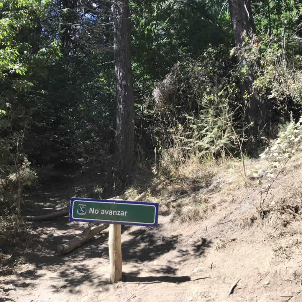 Do not proceed sign on Cerro Campanario path.