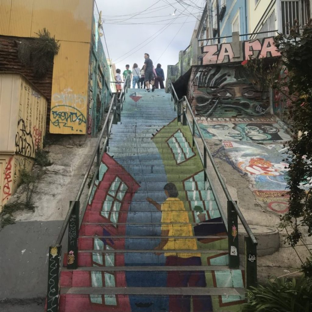 Taking a walking tour of Valparaíso will show you painted stairs like this.