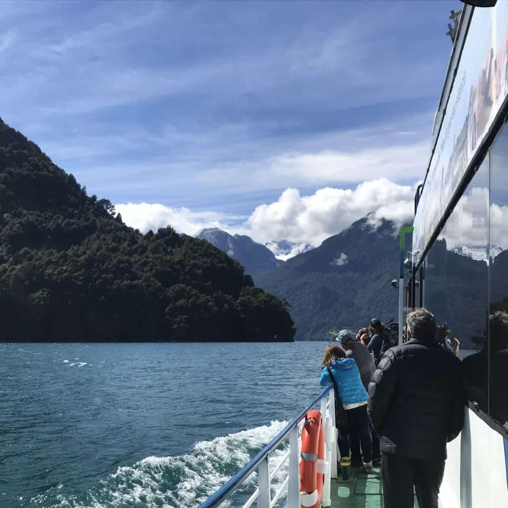 Boat during Cruce Andino lake crossing.