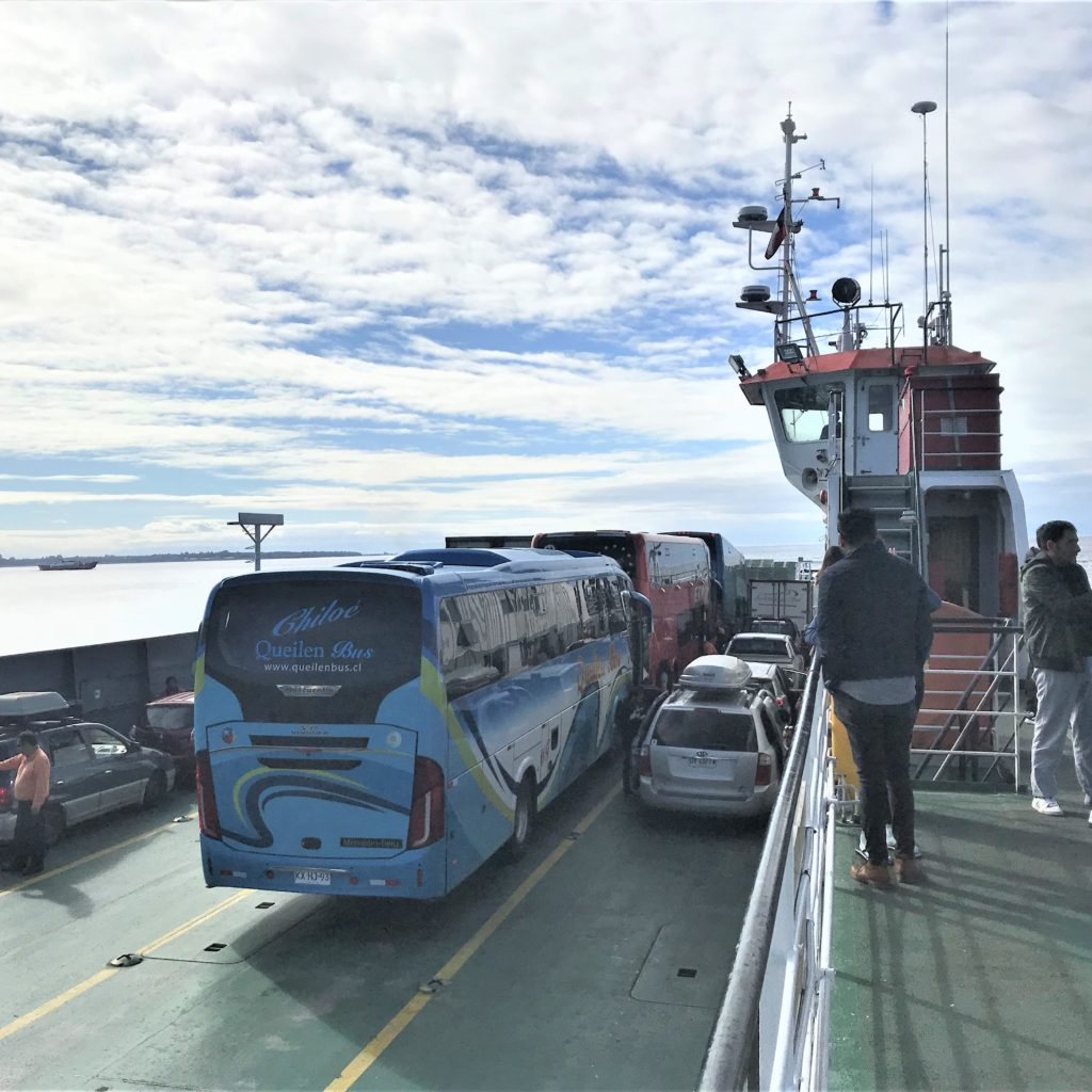 Viewing area on ferry to Chiloé Island.