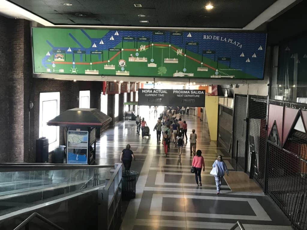 Inside the Tren de la Costa train station.