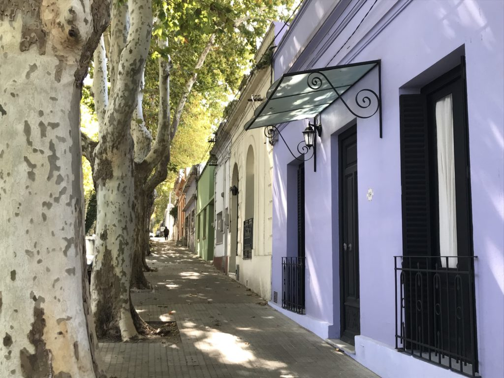 A colorful side street in Colonia.