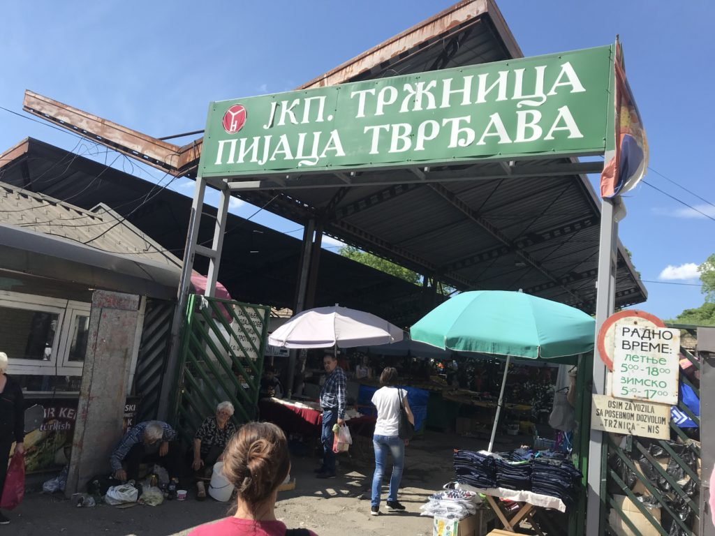 The market near the bus station in Niš, Serbia.