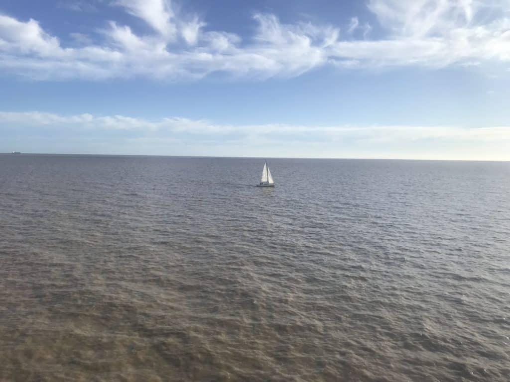 Sailing on the Rio de la Plata river.