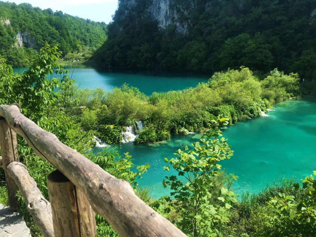 Turquoise blue water at Plitvice Lakes National Park.