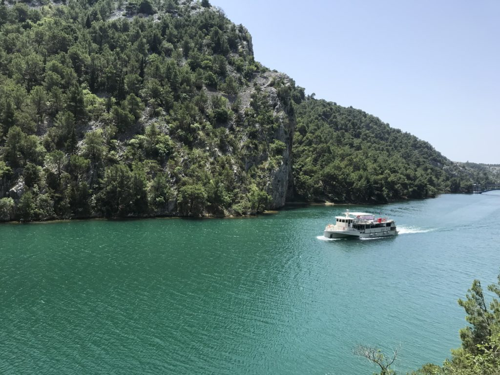 From Skradin, you'll take the boat shown here to get to the Krka waterfalls.