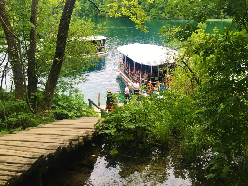 Electrical boats at Plitvice park.