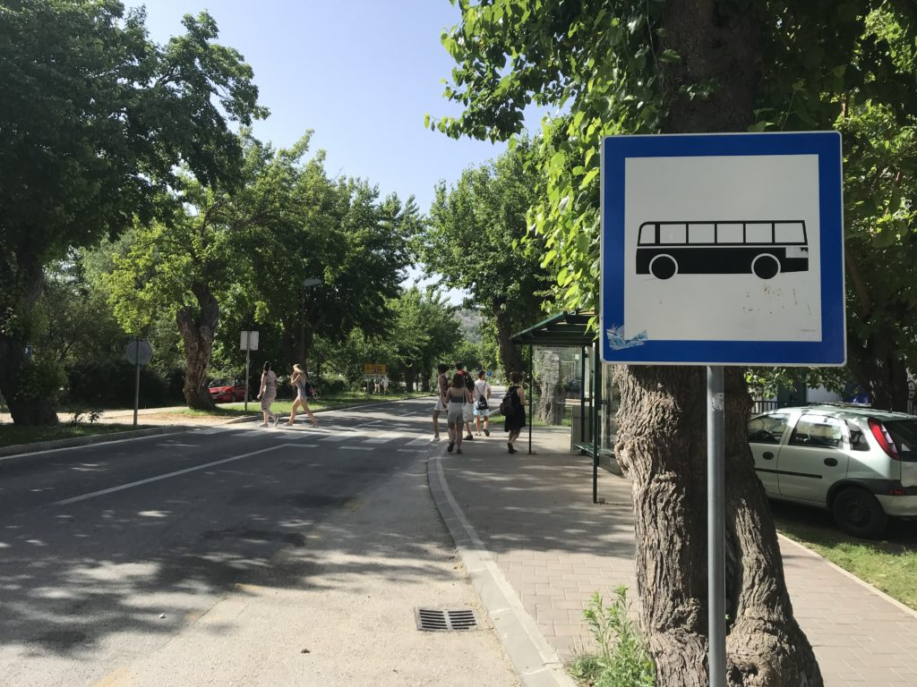 The bus stop in Skradin.  Taking a bus as a day trip to Krka from Split is one of three options for visiting the falls.