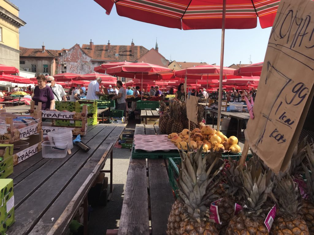Fruit at the Dolac Farmer's Market in Zagreb, Croatia.