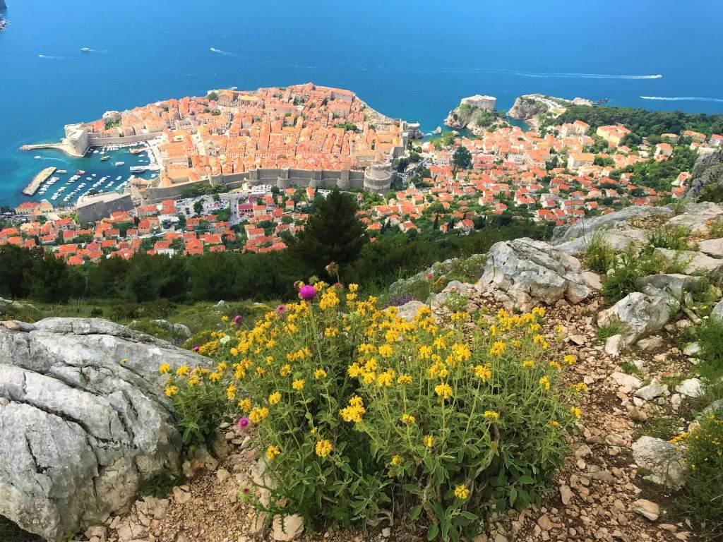 View of Dubrovnik old town after hiking to Mount Srd.