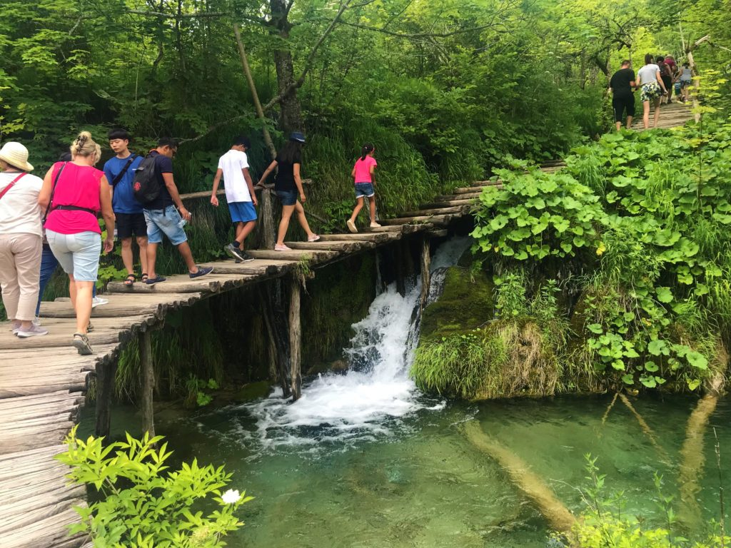 Good balance is required to walk the wooden boardwalks at Plitvice Lakes National Park.