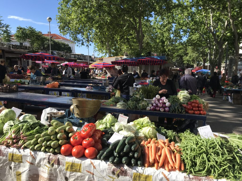 Vegetable table at the Green Market in Split, which is mostly wheelchair accessible.