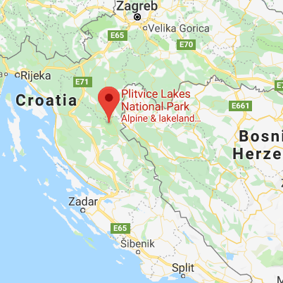 Map of the location of Plitvice Lakes National Park.