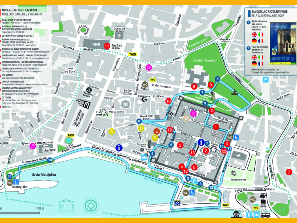 Wheelchair accessible restroom map of Split.