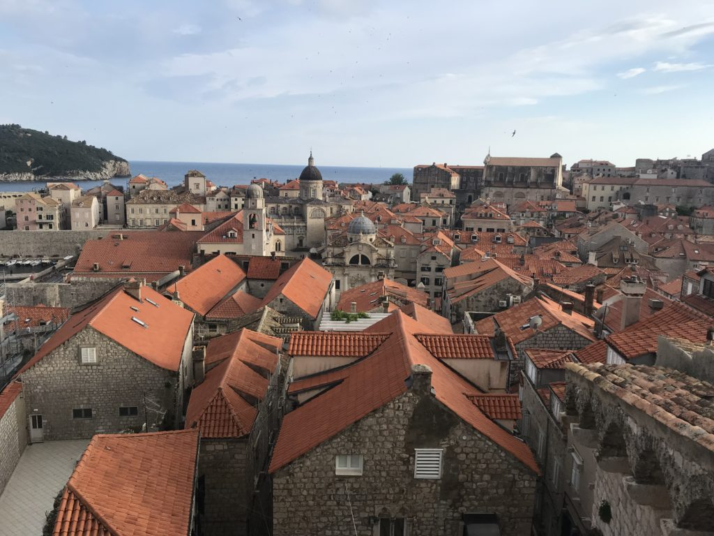 Orange rooftops from the Dubrovnik city walls.
