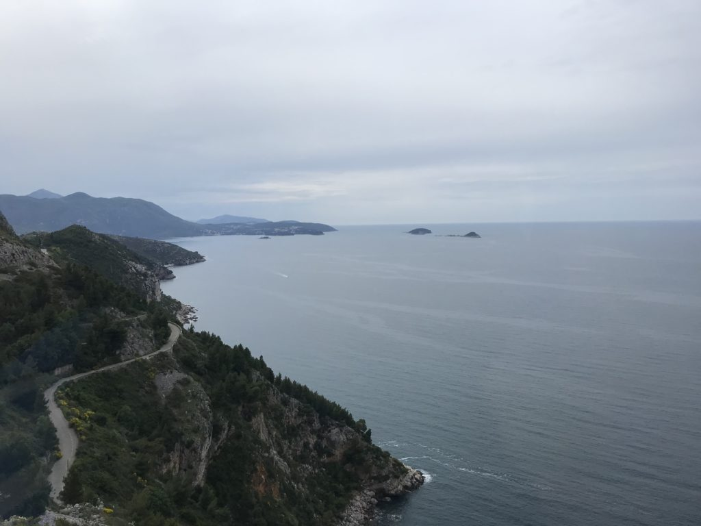 The winding road that runs along the ocean from Dubrovnik to Cavtat.