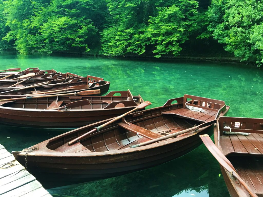 You can rent these rowboats to explore the lakes.