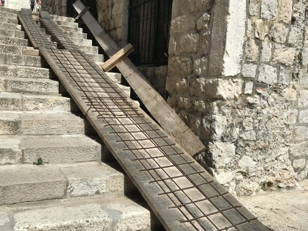 A scary looking ramp leading up the stairs in the old town.