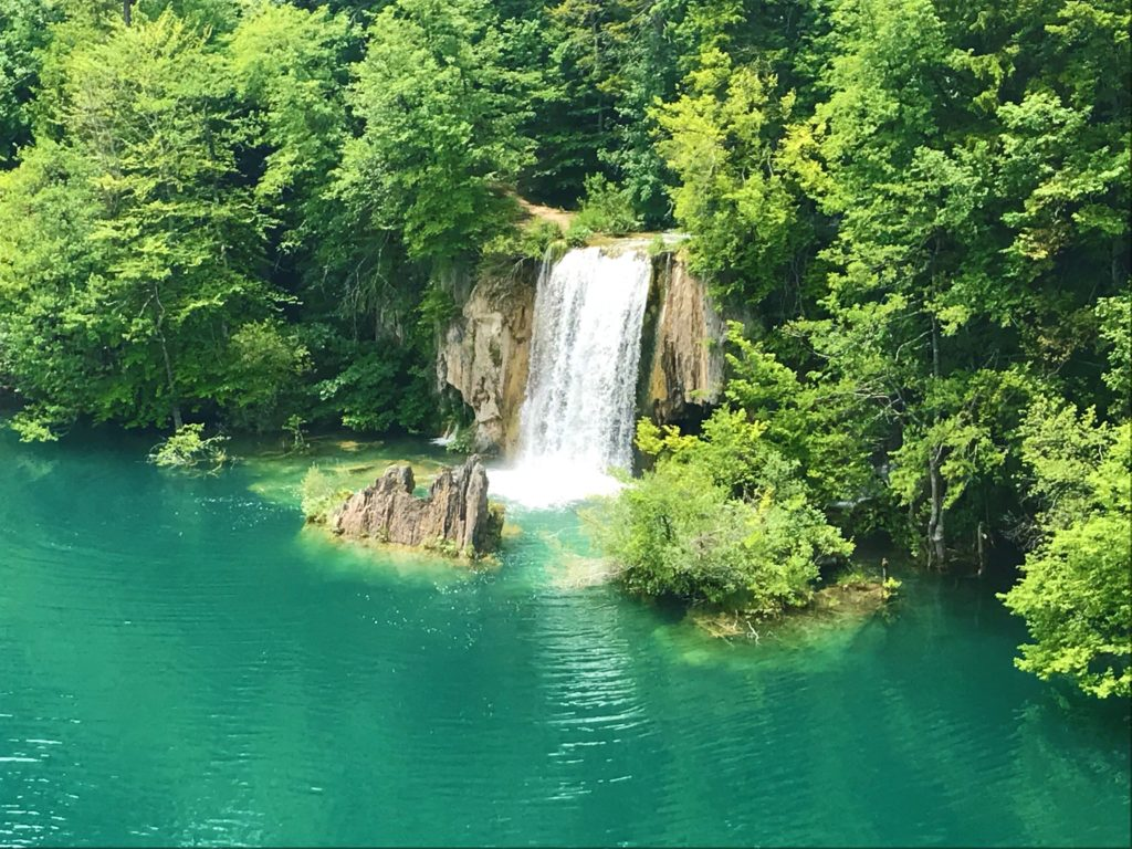 A small waterfall at Plitvice Lakes National Park.