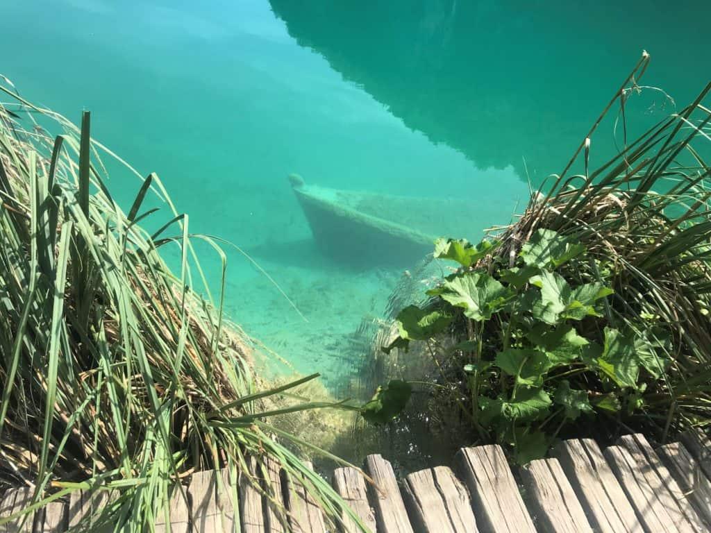 Sunken boat at Plitvice Lakes National Park.