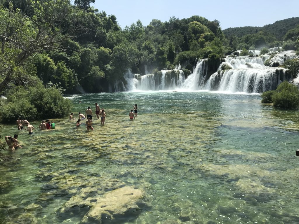 The swimming area at Krka National Park.
