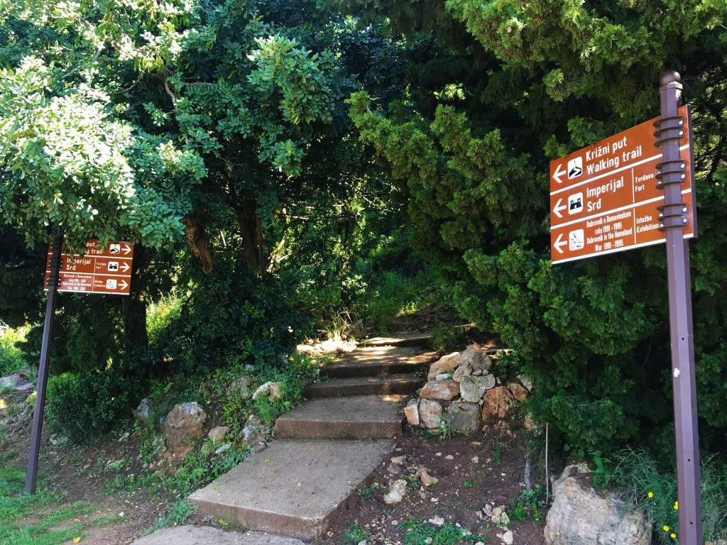 The entrance to the Mount Srđ hiking path.