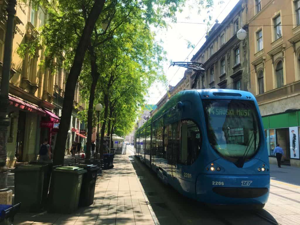 A tram in Zagreb, Croatia.