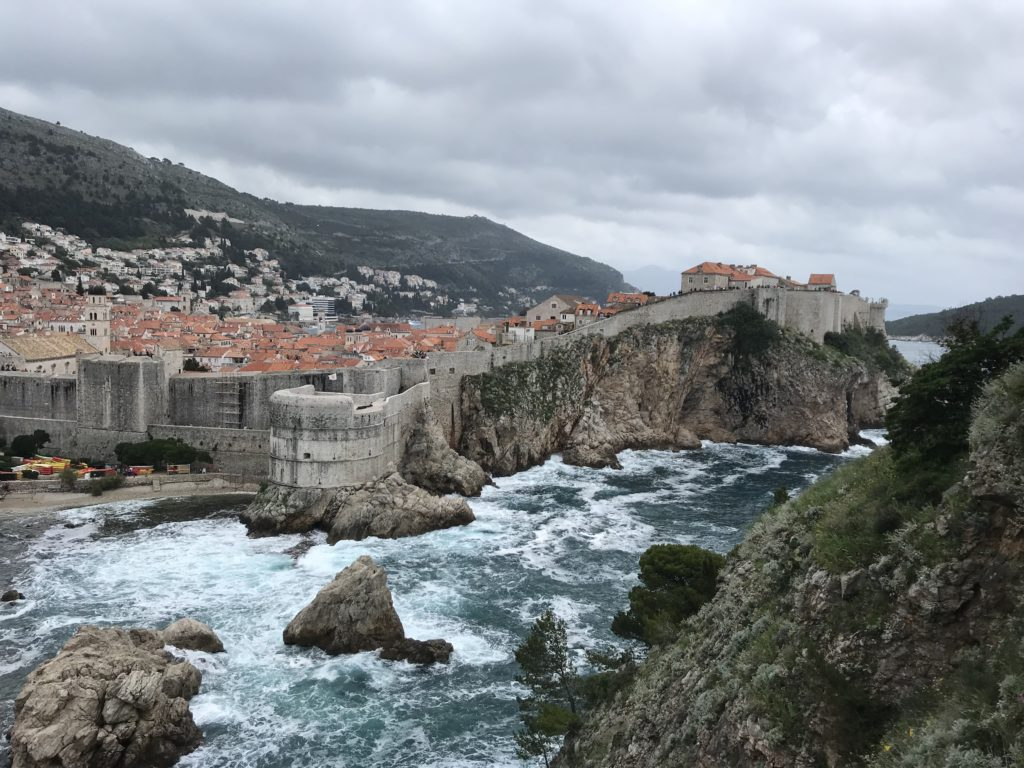 One of the best best things to do in Dubrovnik Croatia is walking to the entrance of Fort Lovrijenac for views like this one over Dubrovnik old town.