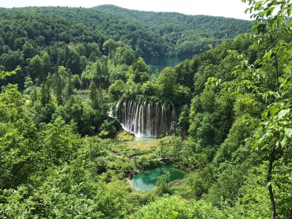 """View of a waterfall at Plitvice Lakes National Park from the """"K"""" route."""