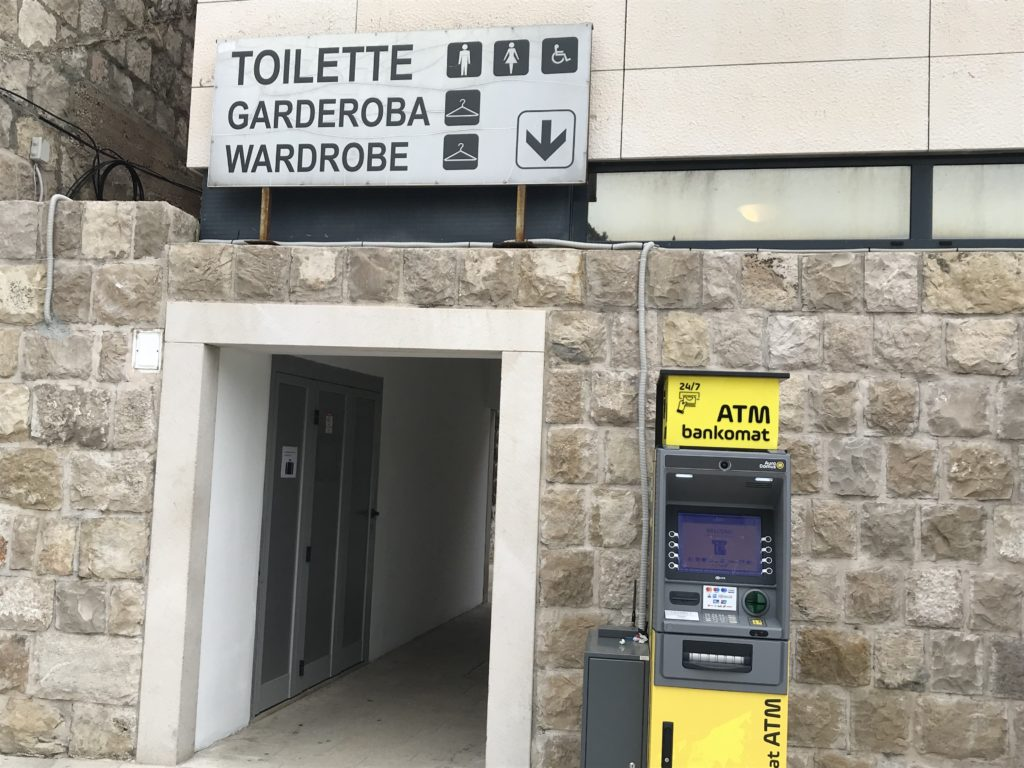 Accessible restroom by the bus station.