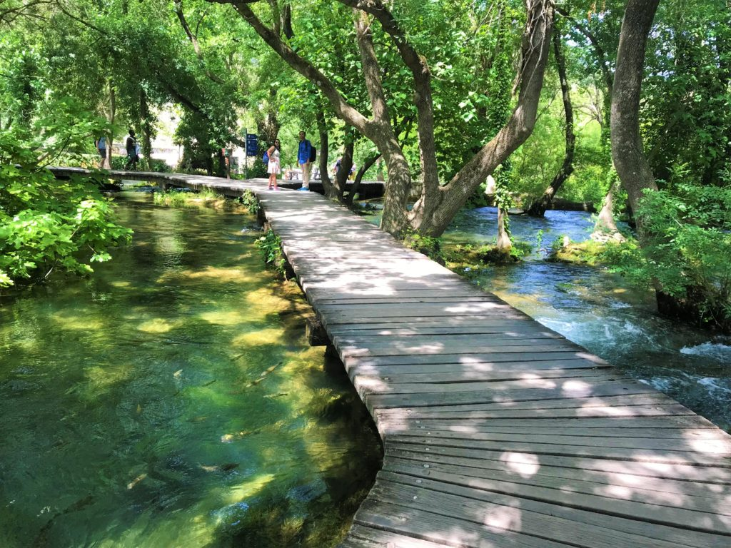The wooden boardwalk offers wheelchair accessibility at Krka.