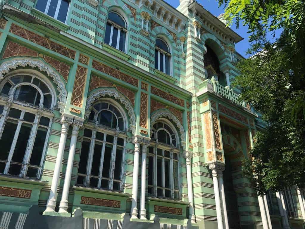 A pretty green building in Odessa, Ukraine.