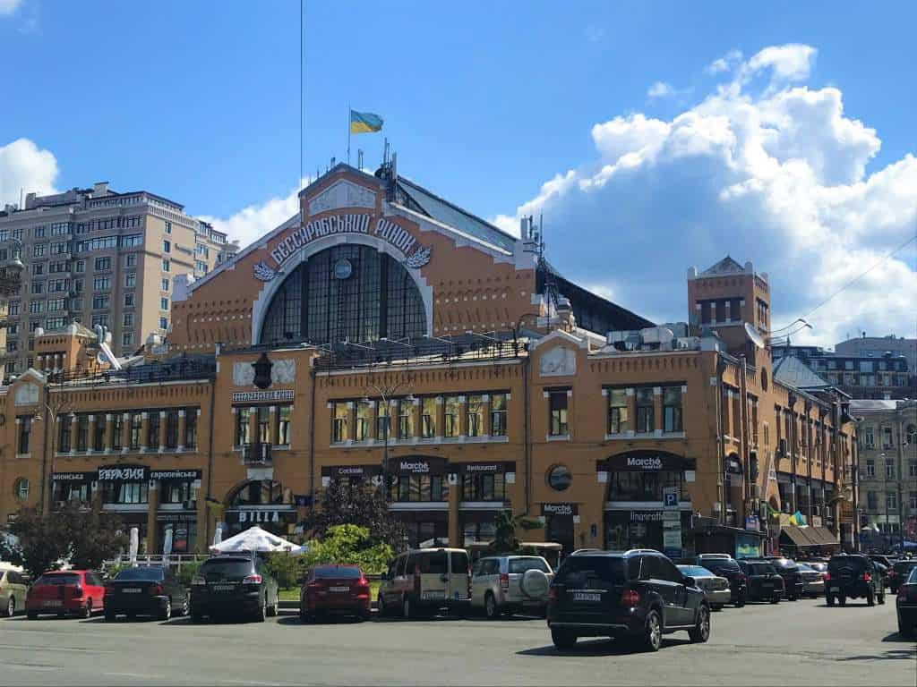 An outdoor view of Bessarabsky Market.