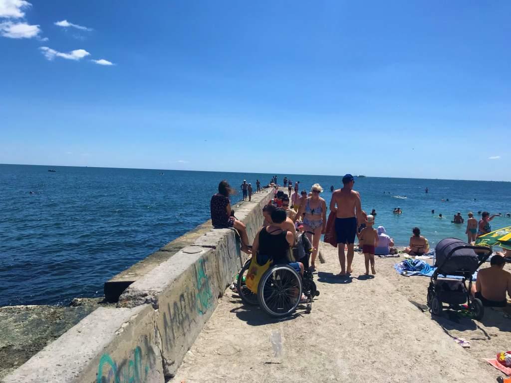 A beach ramp in Odessa Ukraine.