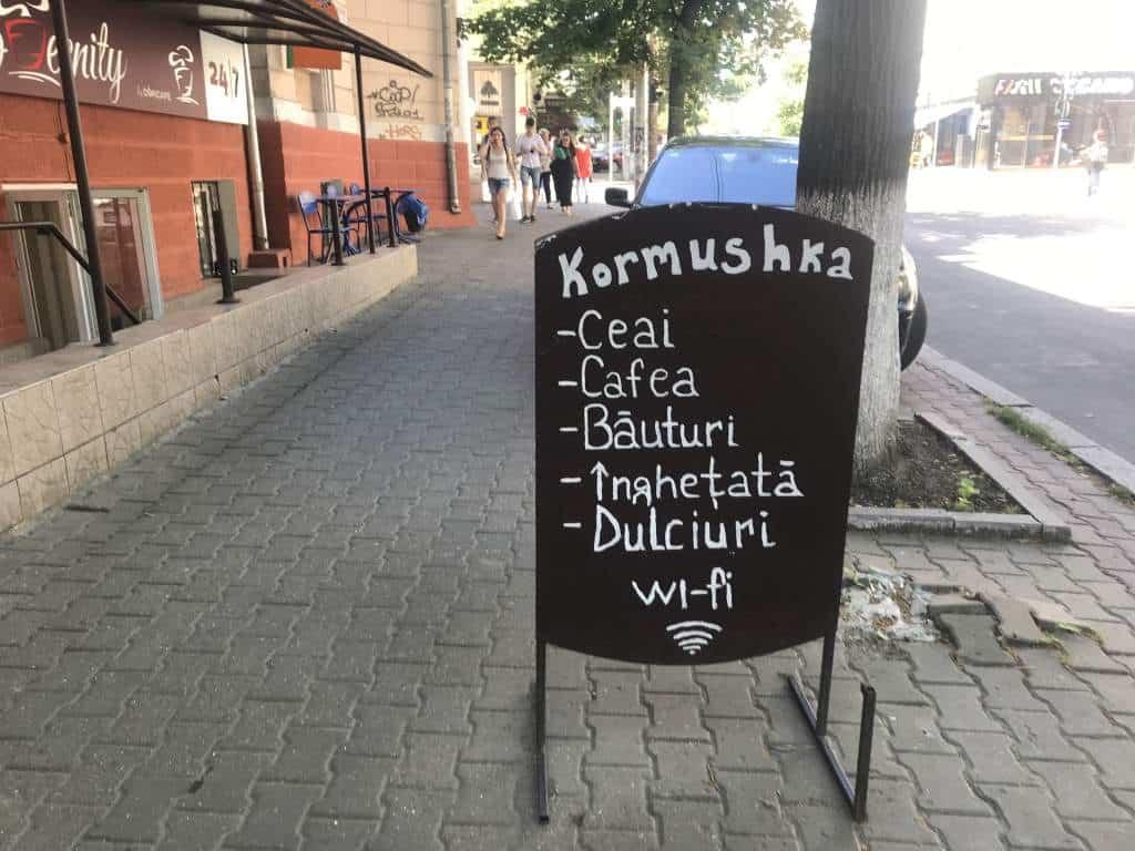 A wifi sign at a cafe in Chişinău.