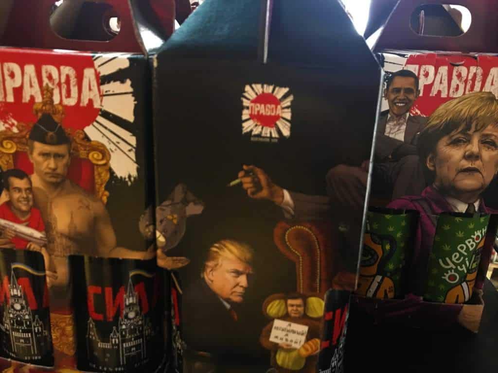Boxes of Putin, Trump, Obama and Merkel beer.