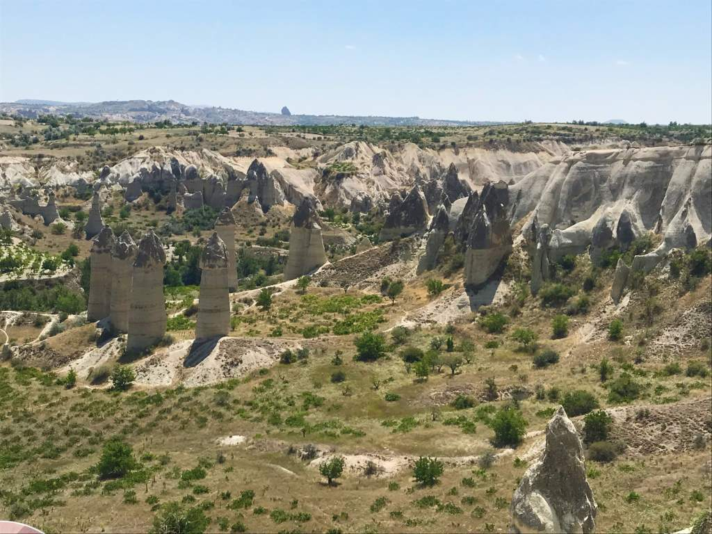 A panoramic view of Love Valley from the accessible viewpoint in Cappadocia.
