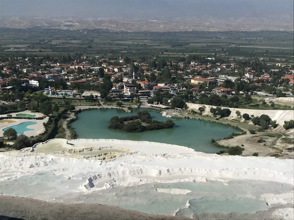 A panoramic view of the tavertines and Pamukkale town.