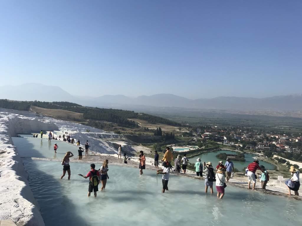 People walking in the tavertine pools.
