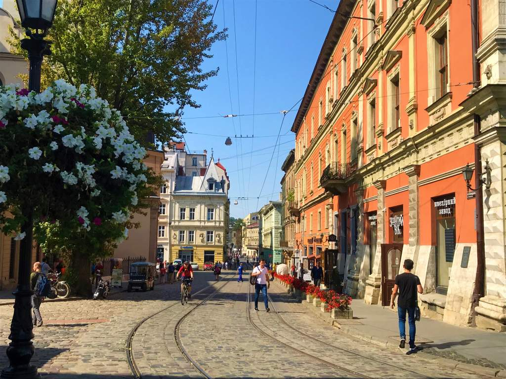 Brightly colored buildings in Lviv's center.
